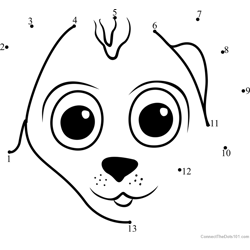 Pet Parade Puppy Face Dot to Dot Worksheet