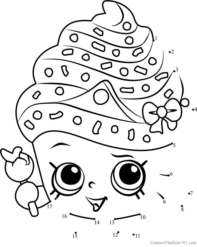 Cupcake Queen Shopkins Dot To Printable Worksheet ConnectTheDots101