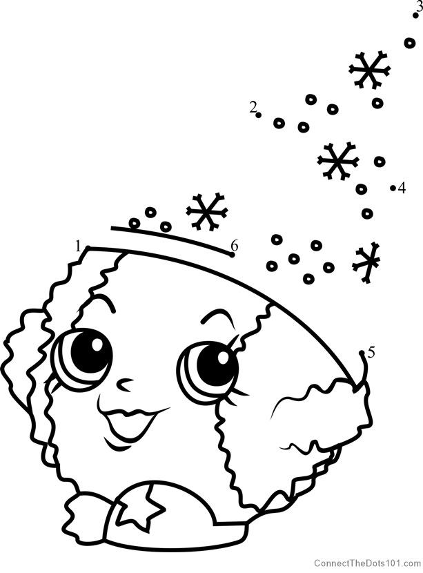 Snow Crush Shopkins dot to dot printable worksheet ...