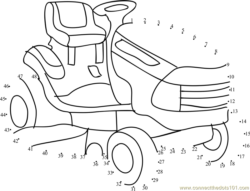 lawn tractors dot to dot printable worksheet