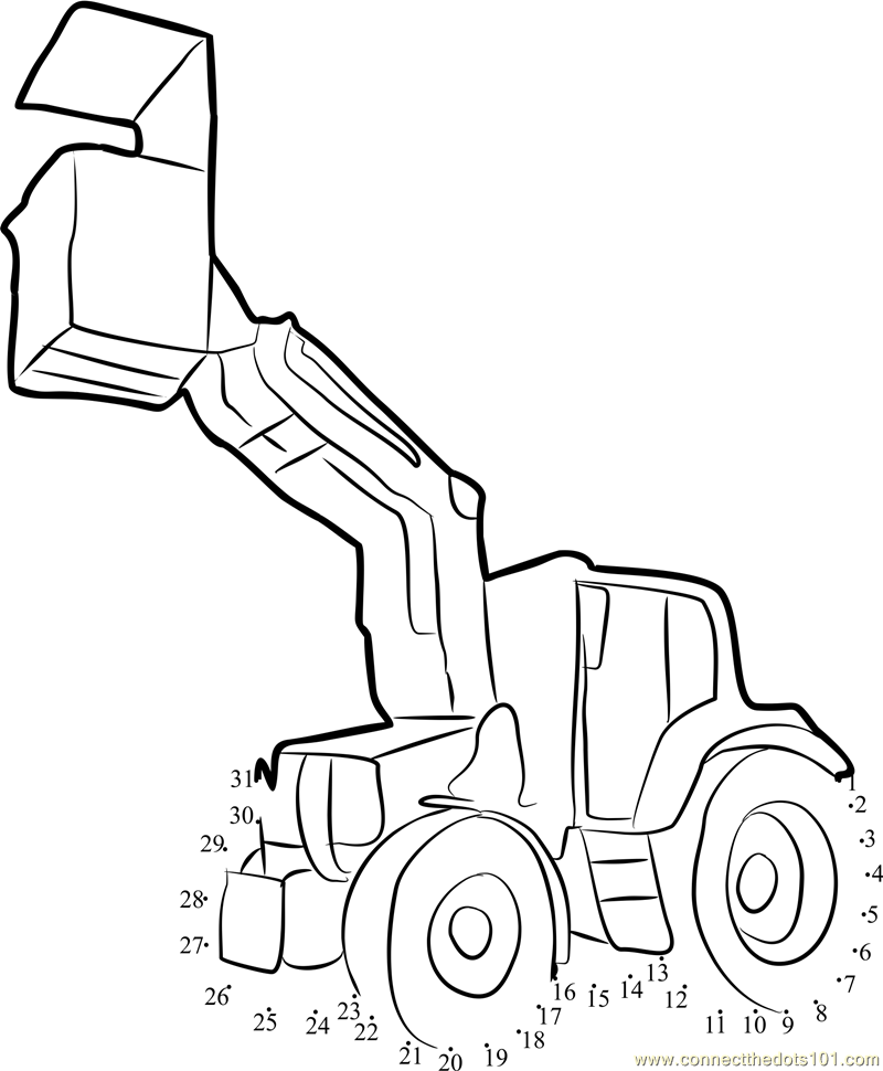 tractor template to print - tractor with trolley dot to dot printable worksheet
