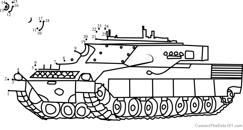 Army Tank In Battle Dot To Dot Printable Worksheet