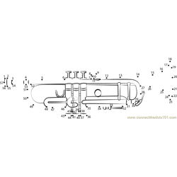 Trumpet Gun Dot to Dot Worksheet