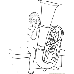 Mann Mit Tuba Dot to Dot Worksheet