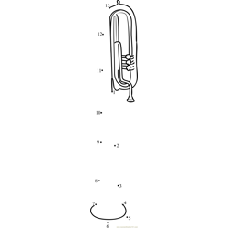 Over-the-Shoulder Tuba Dot to Dot Worksheet