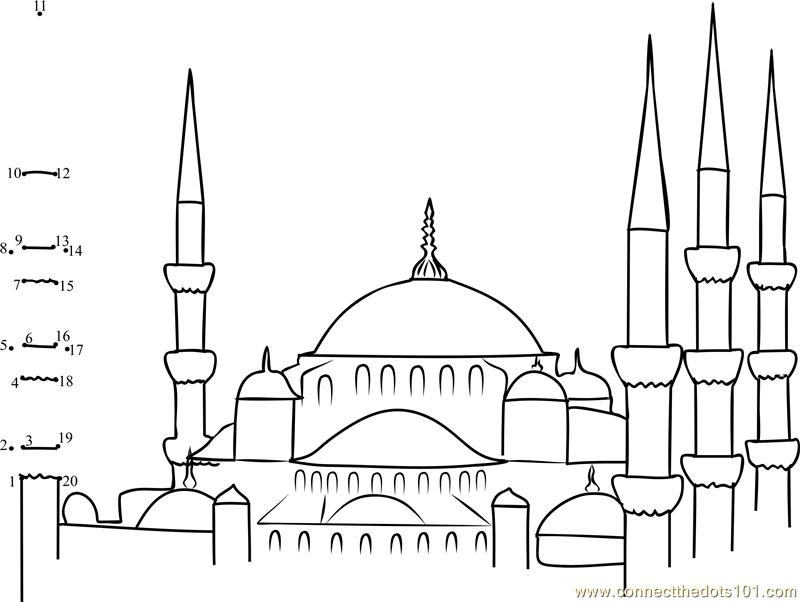 Eid Mubarak Kleurplaat Blue Mosques In Turkey Dot To Dot Printable Worksheet