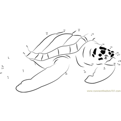 Beautiful Turtle Dot to Dot Worksheet