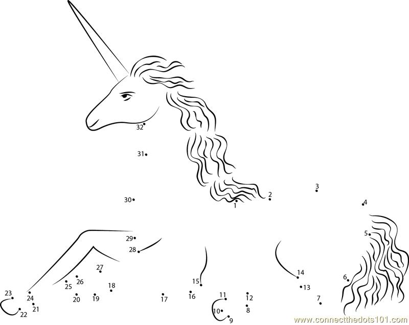 Captivite Unicorn Dot To Dot Printable Worksheet