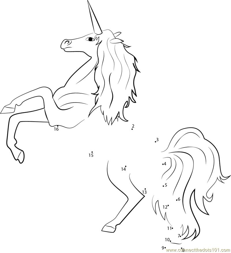 Magical Animals Unicorns dot to dot printable worksheet ...