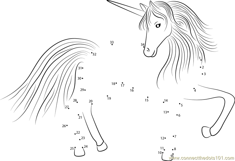 rainbow coloring pages online printable image : PegasusUnicornconnectdots from bonzaipaint.biz size 800 x 550 png 84kB