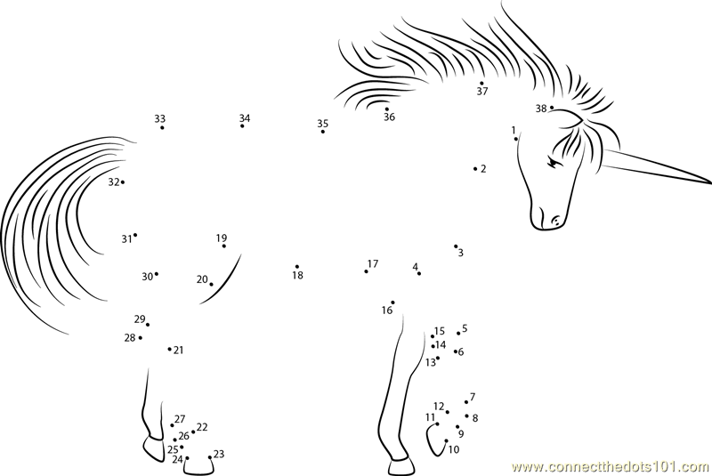 2267 Unicorn Fantasy In The Forest Dot To Dot on Preschool Games