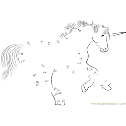 Unicorn Play Dot to Dot Worksheet