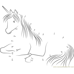 Unicorn Relaxing Dot to Dot Worksheet