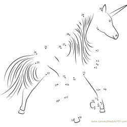 Unicorn Running Fast Dot to Dot Worksheet
