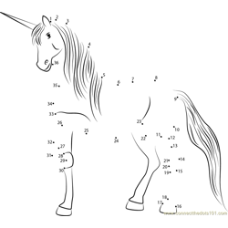 Unicorn Walking Dot to Dot Worksheet