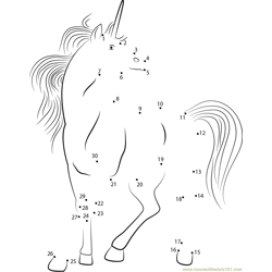 White Unicorn Dot to Dot Worksheet