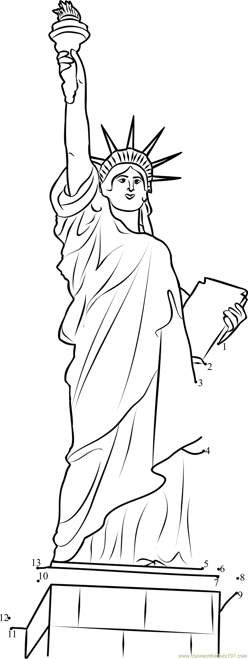 Statue of Liberty dot to dot printable worksheet  Connect The Dots