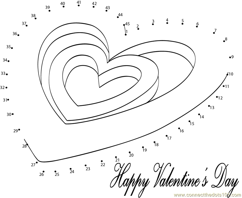 Most popular valentines day dot to dot printable worksheet for Valentine connect the dots coloring pages
