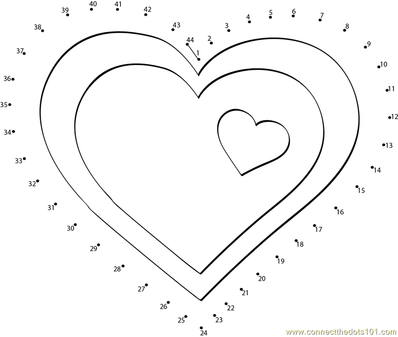 Valentine hearts clip art dot to dot printable worksheet for Valentine connect the dots coloring pages