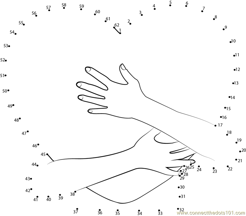 Heart in arms dot to dot printable worksheet connect the for Valentine connect the dots coloring pages