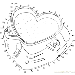 The Perfect Cup For Coffee - Red Heart Dot to Dot Worksheet