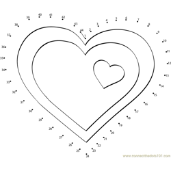 Valentine Hearts Clip Art Dot to Dot Worksheet