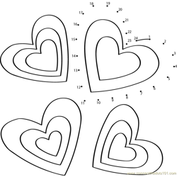 Valentines Day Heart Dot to Dot Worksheet
