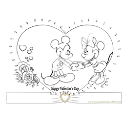 Valentines Day Mickey Dot to Dot Worksheet