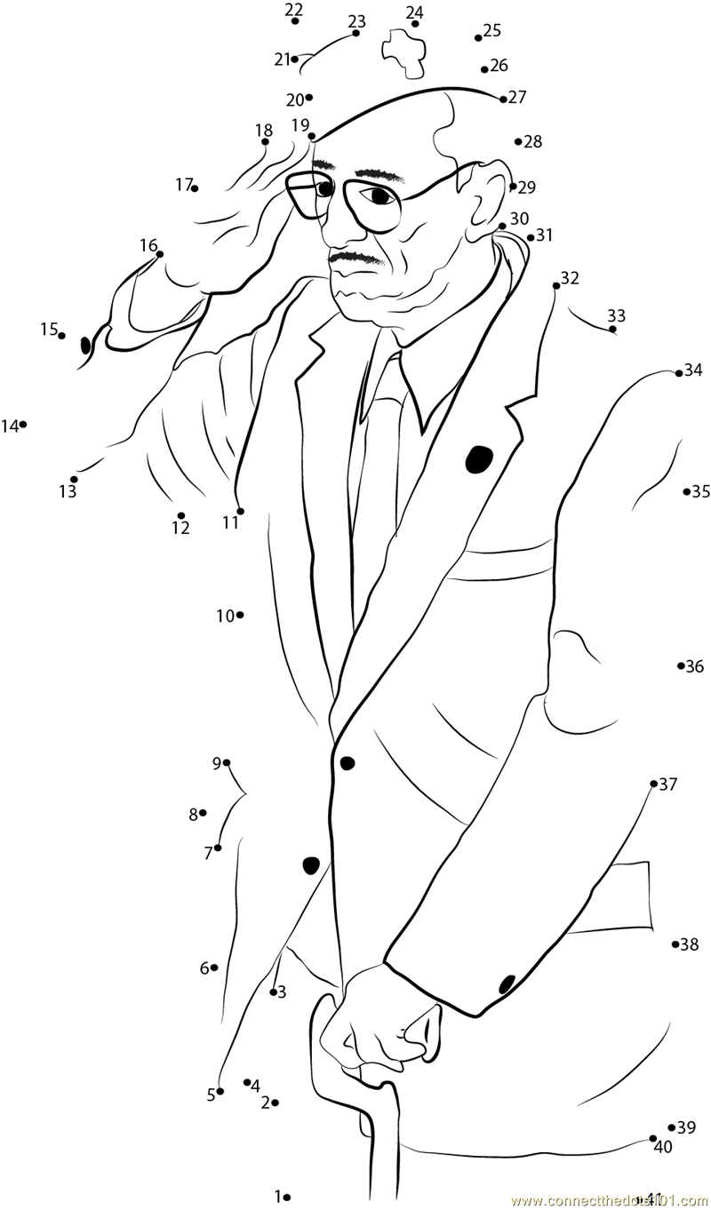 Old Man Salutes dot to dot printable