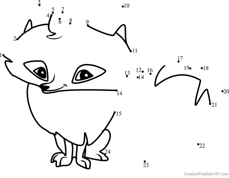 Arctic Fox Animal Jam Dot To Dot Printable Worksheet