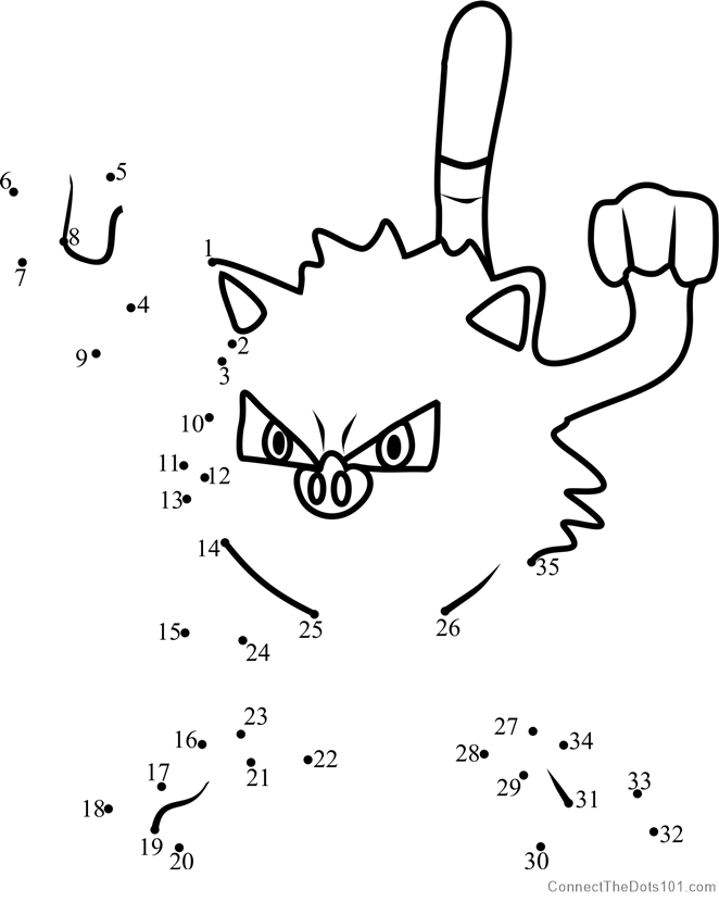 Mankey Pokemon GO dot to dot printable worksheet - Connect ...