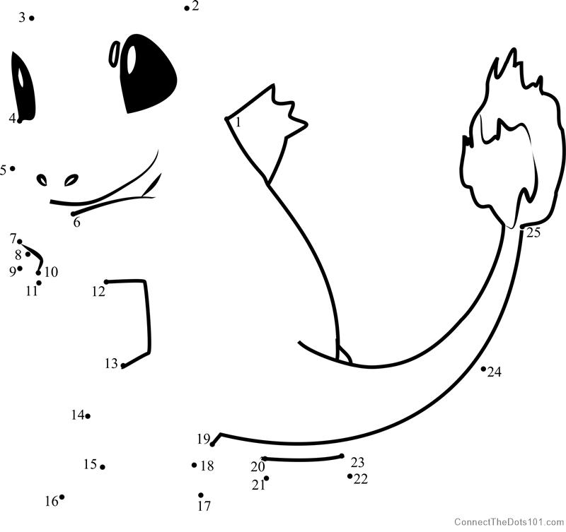 14375 Pokemon Charmander Dot To Dot on Superheroes Worksheets For Kids