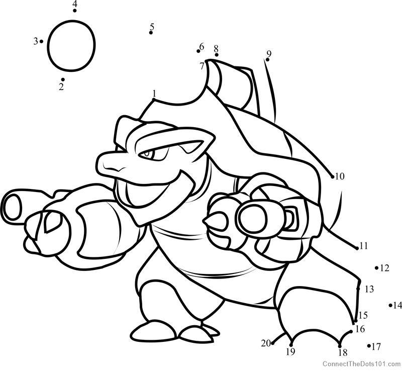 Pokemon Mega Blastoise dot to dot printable worksheet ...