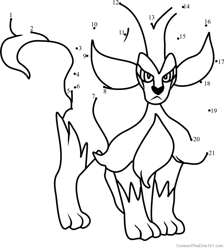 Pokemon Pyroar dot to dot printable worksheet Connect