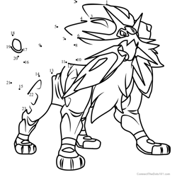 Solgaleo Pokemon Sun and Moon Dot to Dot Worksheet