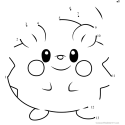 Togedemaru Pokemon Sun and Moon Dot to Dot Worksheet