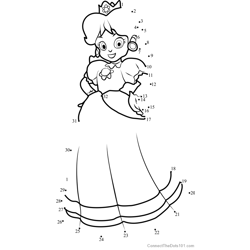 Princess Daisy from Super Mario Dot to Dot Worksheet