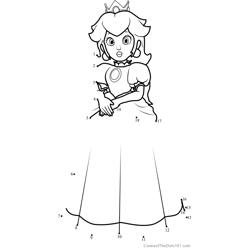 Princess Peach from Super Mario Dot to Dot Worksheet