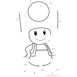 Toad from Super Mario Dot to Dot Worksheet