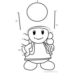 Toadette from Super Mario Dot to Dot Worksheet