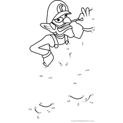 Waluigi from Super Mario Dot to Dot Worksheet