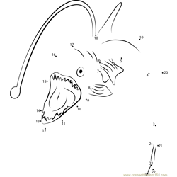 Viperfish Open Mouth Dot to Dot Worksheet