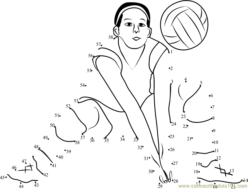 volleyball Connect The Dots printable worksheets