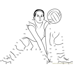 Volleyball Women Shot Dot to Dot Worksheet