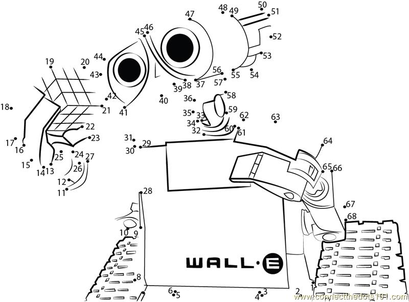 Wall-E Funny Robot dot to dot printable worksheet - Connect The Dots