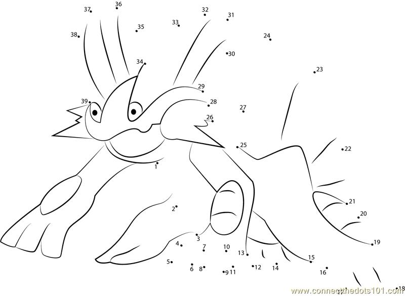 Swampert Water Pokemon dot to dot Printable Worksheet ...