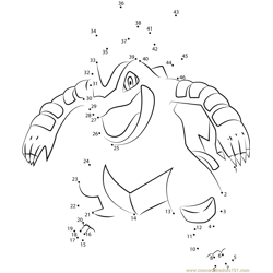 Feraligatr Water Pokemon Dot to Dot Worksheet