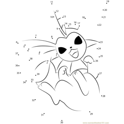 Vaporeon Water Pokemon Dot to Dot Worksheet