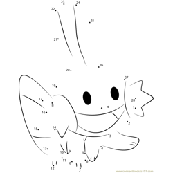 Water Pokemon Smiling Dot to Dot Worksheet