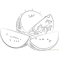 Watermelons Cut in Half Dot to Dot Worksheet